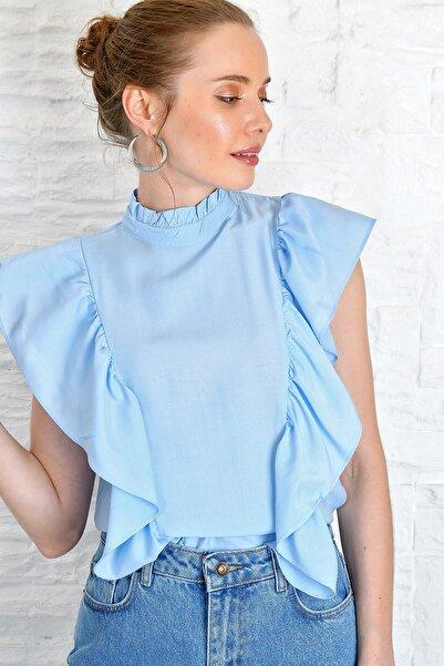 Kadın Mavi Yakası Ve Kolları Fırfırlı Dokuma Bluz Dnz-3180