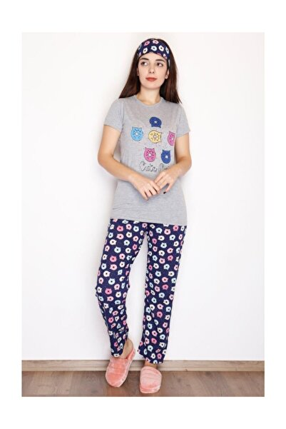 Lukas Kadın Yarım Kol Penye Pijama Takımı Gri - 3530.102.