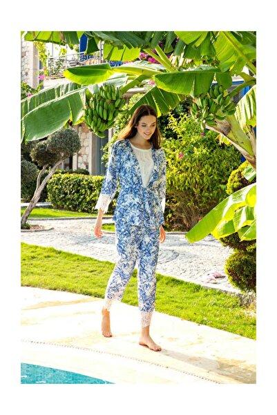 Berrak Kadın Mavi Üçlü Pijama Takımı 863
