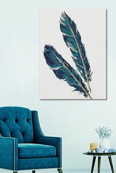 Hediyeler Kapında 50x70 Dekoratif Kuş Tüyü Duvar Kanvas Tablo