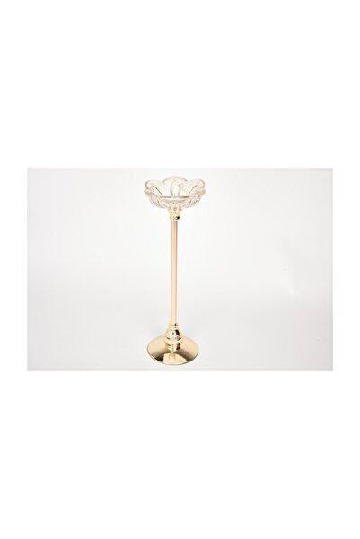 SETA BIANCA Regına Mumluk Ince Cam Çiçek Gold Büyük 39 cm