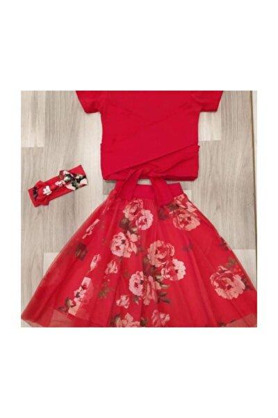 Evren Butik Kırmızı Etekli Çocuk Elbise