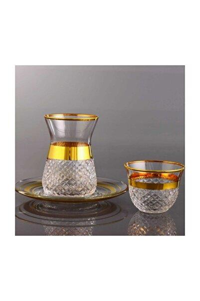 Kristal Vizyon Asit Dekor 18 Parça Çay Bardağı ve Mırra Takımı 6 Kişilik