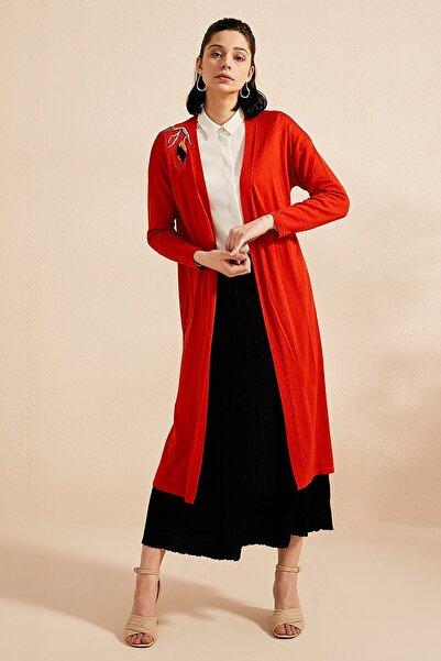 Kayra Kadın Sırtı İşlemeli Triko Hırka Kırmızı B20 Trk01
