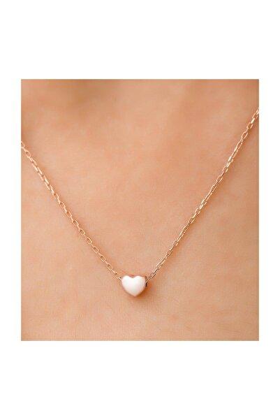 Kadın Kalpli Model Rose Kaplama  925 Ayar Gümüş Kolye