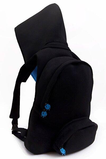 Deriderim Kool Siyah/mavi Kapüşonlu Sırt Çantası