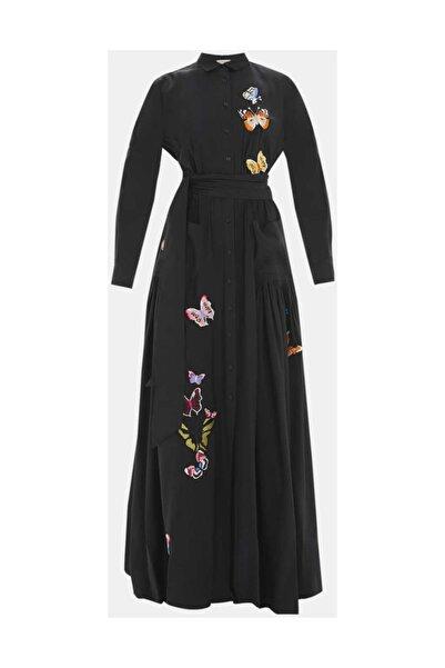 SOCIETA Kadın Nakış Ve Büzgülü Gömlek Elbise Siyah 92562 M18191092562101
