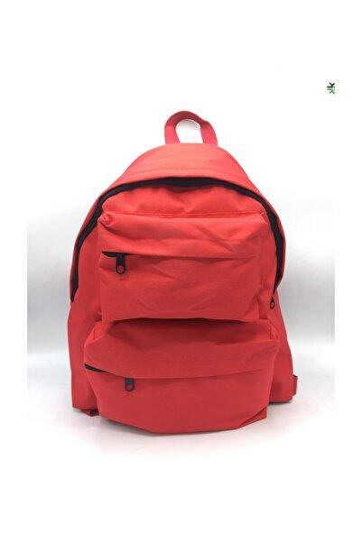 Köstebek Kırmızı Renk Çift Cepli Yeni Okul Sırt Çantası