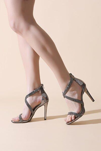 ALTINAYAK Arka Fermuarlı Çapraz Taşlı  Abiye Ayakkabı
