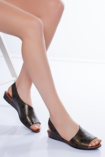 Diego Carlotti Hakiki Deri Platin Sarı Kadın Sandalet