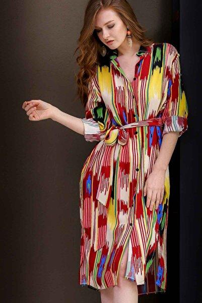Kadın Pembe-Bordo Casual Kuşak Detaylı Gömlek Elbise  M10160000EL97306