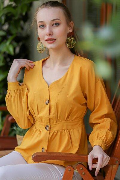 Kadın Hardal Vintage Dev Düğme Detaylı Bele Oturan Bluz M10010200Bl96311