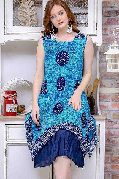 Kadın Turkuvaz-Lacivert Bohem Dev Mühür Desenli Kolsuz Astarlı Tülbent Elbise M10160000EL97130