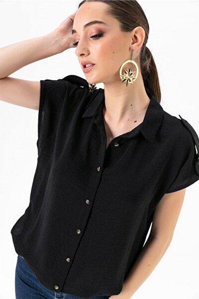 Kadın Düşük Kollu Apoletli Gömlek Siyah