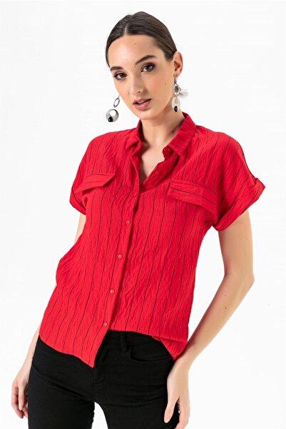 Yakalı Sahte Cepli Çizgili Gömlek Kırmızı