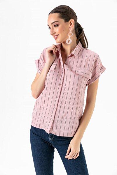 Kadın Pudra Yakalı Sahte Cepli Çizgili Gömlek