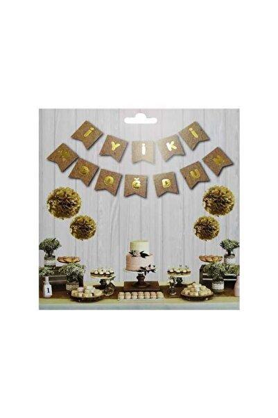 Deniz Party Store Iyi Ki Doğdun Banner Kraft Üzeri Gold Varaklı