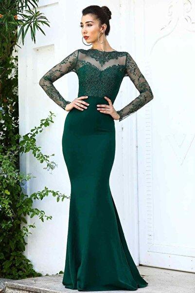 Dantelli Koyu Yeşil Kadın Balık Model Abiye
