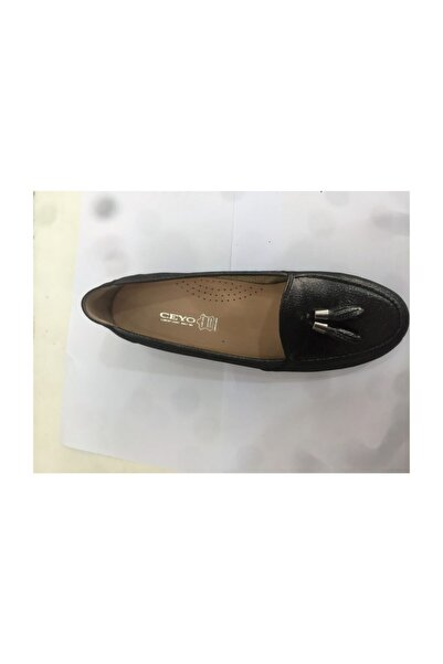 Ceyo 426 Siyah Bayan Dolgu Topuk Anatomik Ayakkabı