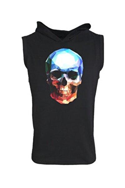 Unisex Baskılı Kapşonlu Kolsuz Siyah T-shirt
