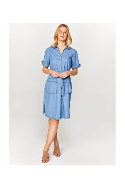 Faik Sönmez Kadın Mavi Kısa Kollu Jean Elbise 60452