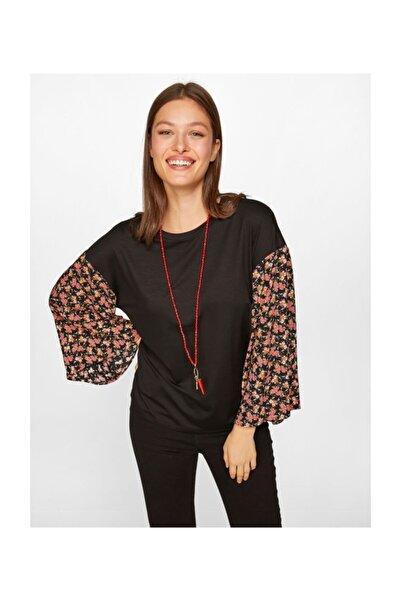 Faik Sönmez Kadın Kolu Puantiyeli T-shirt 60640