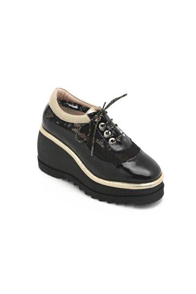 Kadın Septer Spor Ayakkabı Siyah Rugan - Altın