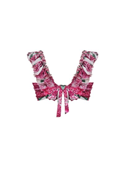 Kadın Pembe Desenli Lily Top Bikini Üstü