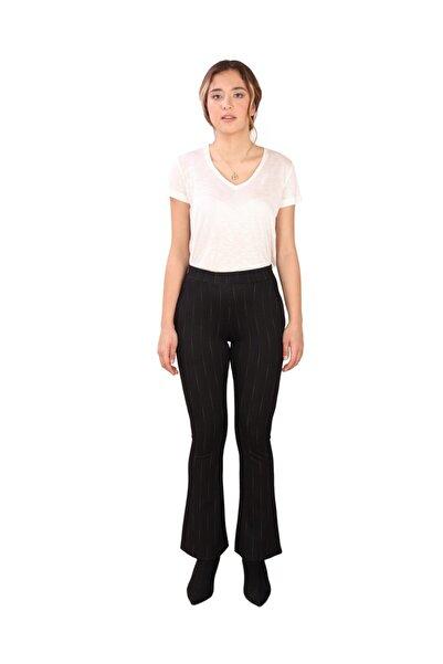 Kadın Ispanyol Paça Pantolon Siyah (b19-49113)