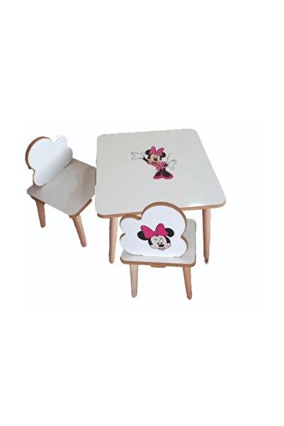 Ars Ahşap Çocuk Masa Sandalye Takımı 2 Sandalye 1 Masa Çocuk Oyun Masası Kız