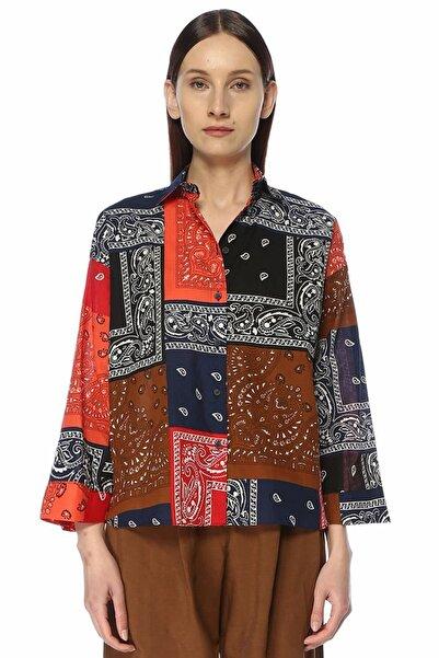 Colorblocked Patchwork Desenli Gömlek