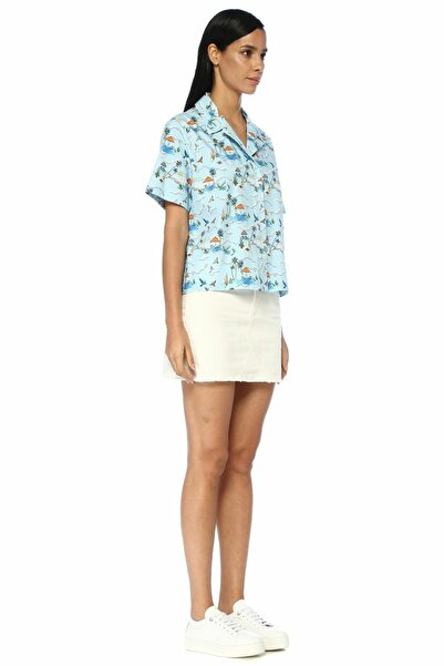 Mavi Desenli Pijama Formlu Kısa Kol Poplin Gömlek