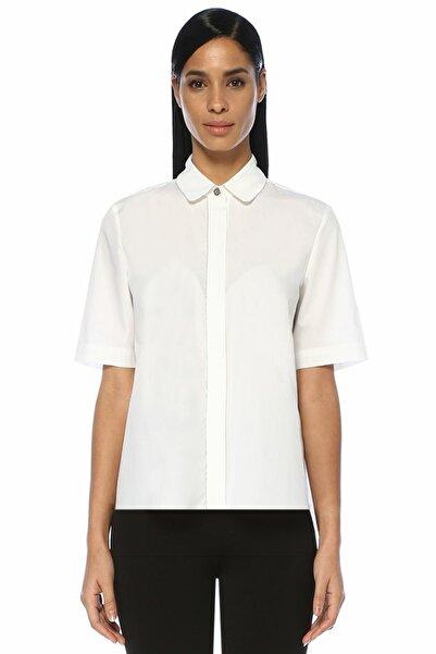 Beyaz Zincir Şerit Detaylı Kısa Kol Gömlek