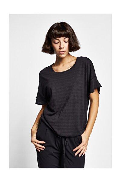 Lescon 19Y-2161 Siyah Kadın Kısa Kollu T-Shirt
