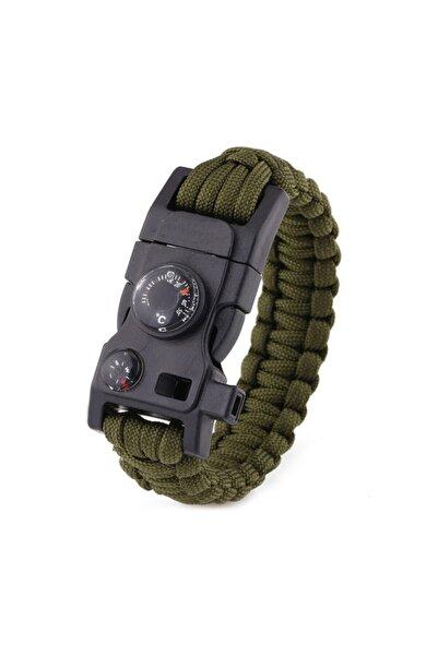 Outdoor Outlet Haki (Askeri Yeşil) Paracord Bileklik - Ateş Başlatıcı-Düdük-Pusula-Termometre - Çok Amaçlı Kit