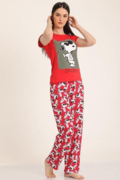 MD trend Kadın Kırmızı Snoppy Baskılı Pijama Takımı Mdt4922