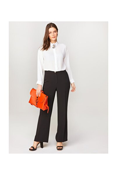 Faik Sönmez Kadın Siyah Straight Fit Kumaş Pantolon 60545 U60545