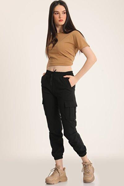 MD trend Kadın Siyah Bel Lastikli Kargo Cepli Pantolon Mdt5296