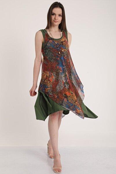 MD trend Kadın Haki Askılı Kolyeli Asimetrik Elbise Mdt5451