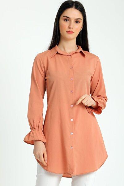 MD trend Kadın Yavruağzi Kol Büzgülü Tunik Gömlek Mdt5115
