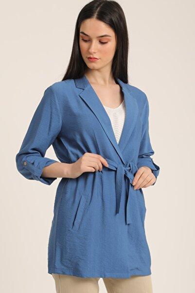 MD trend Kadın Indigo Bel Kemerli Cepli Blazer Ceket Mdt5365