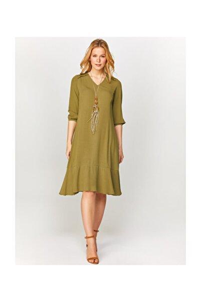 Faik Sönmez Kadın Omuzları Nakışlı Uzun Kollu Elbise 60263