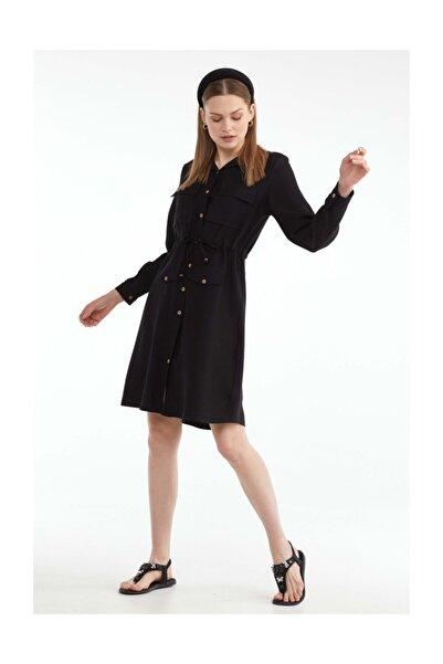 Sementa Kadın Cep Detaylı Gömlek Elbise Siyah