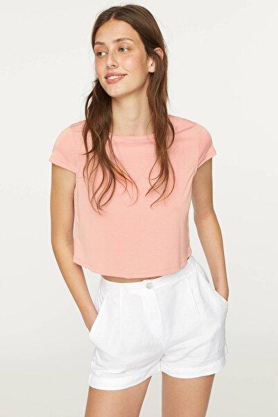 Kadın Pembe Modal Crop Tişört
