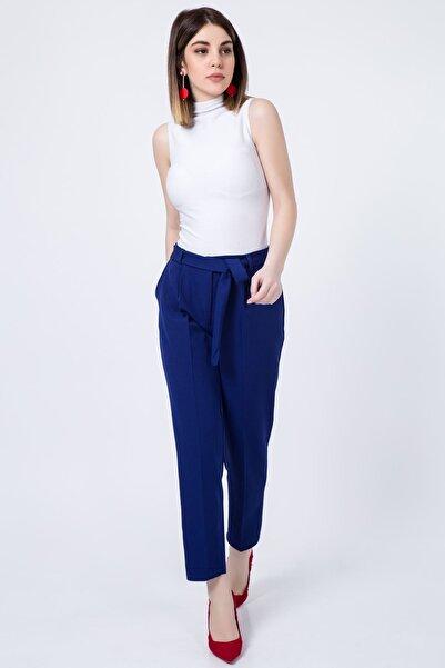 Zafoni Kadın Saksmavi Bel Kuşaklı Klasik Pantolon P-00001280