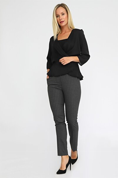 Chima Kadın Antrasit Çizgili Dar Paça Pantolon K20PA117