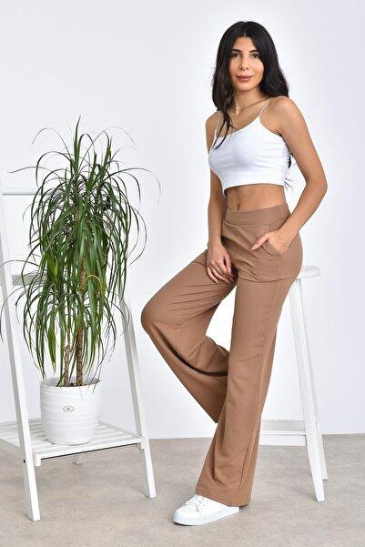Kadın Taba Beli Lastikli Bol Paça Yüksek Bel Pantolon