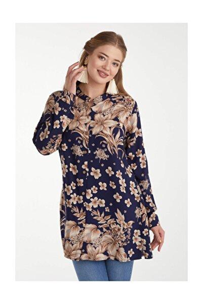 Sementa Kadın Desenli Gömlek - Lacivert