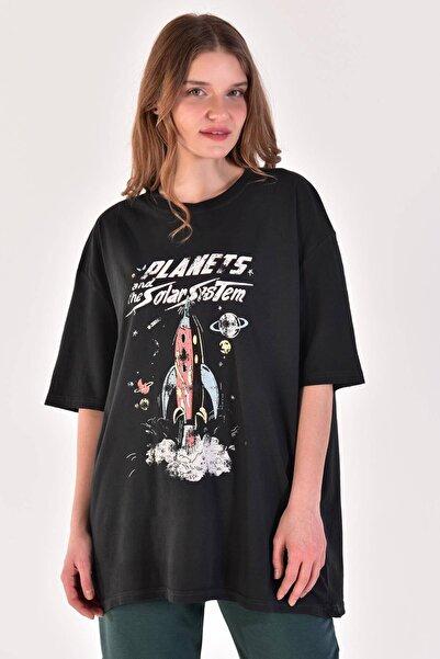 Kadın Füme Baskılı Geniş Kesim Tişört P9370 - Y4 ADX-0000021419