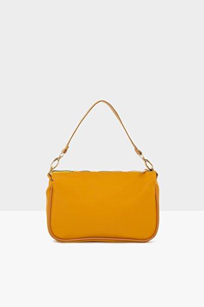 Bagmori Sarı Kadın Saten Fitilli Baget Çanta M000004464